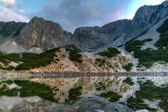Amazing sunset over Sinanitsa peak and lake, Pirin Mountain Stock Images