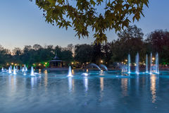 Amazing Sunset over Singing Fountains in City of Plovdiv. Bulgaria Tsar Simeon Garden Royalty Free Stock Images