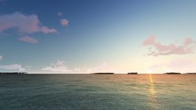 Amazing sunset over the tropical beach. Palms on the sandbank stock video footage