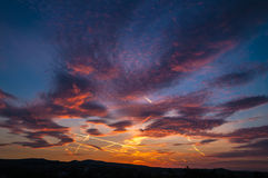 Amazing sunset panorama Royalty Free Stock Image