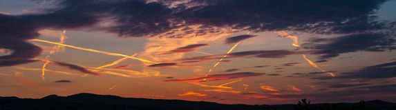 Amazing sunset panorama Royalty Free Stock Photo