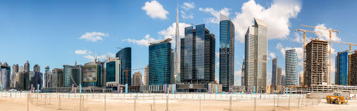Amazing sunset panorama of Downtown Dubai skyline - UAE Stock Photos