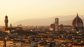 Amazing sunset panorama of Florence with Cathedral of Saint Mary of the Flower  Santa Maria del Fiore , Florence, Italy Stock Photography