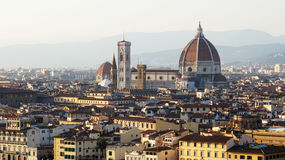 Amazing sunset panorama of Florence with Cathedral of Saint Mary of the Flower  Santa Maria del Fiore , Florence, Italy Royalty Free Stock Images