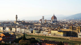 Amazing sunset panorama of Florence with Cathedral of Saint Mary of the Flower  Santa Maria del Fiore  Italy Stock Images