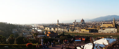 Amazing sunset panorama of Florence with Cathedral of Santa Maria del Fiore, Palazzo Vecchio Palace and Ponte Vecchio Bridge Royalty Free Stock Image