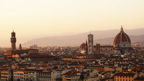Amazing sunset panorama of Florence with Cathedral of Santa Maria del Fiore, Palazzo Vecchio Palace. View from Piazzale Michelangelo balcony, Florence, Italy Royalty Free Stock Photos