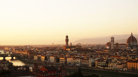 Amazing sunset panorama of Florence with Palazzo Vecchio palace and Cathedral of Saint Mary of the Flower. Santa Maria del Fiore  Florence, Italy Stock Photo