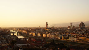 Amazing sunset panorama of Florence with Palazzo Vecchio palace and Cathedral of Saint Mary of the Flower. Santa Maria del Fiore  Florence, Italy Royalty Free Stock Photos