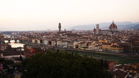 Amazing sunset panorama of Florence with Palazzo Vecchio palace and Cathedral of Saint Mary of the Flower Royalty Free Stock Photo