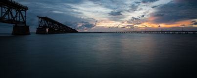Amazing Sunset Panorama in Florida Keys Royalty Free Stock Images