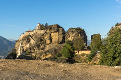 Amazing Sunset Panorama of  Holy Monastery of Varlaam in Meteora, Greece Royalty Free Stock Images
