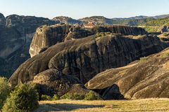 Amazing Sunset Panorama of  Monastery of the Holy Trinity in Meteora, Greece Royalty Free Stock Photography