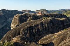 Amazing Sunset Panorama of  Monastery of the Holy Trinity in Meteora, Greece Royalty Free Stock Image