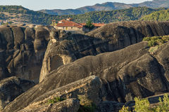 Amazing Sunset Panorama of  Monastery of the Holy Trinity in Meteora, Greece Stock Images