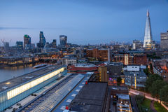Amazing Sunset panorama from Tate modern Gallery to city of London, England, Great Britain Royalty Free Stock Images