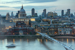 Amazing Sunset panorama from Tate modern Gallery to city of London, England, Great Britain Stock Images