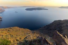 Amazing sunset panorama to Santorini island, Thira, Greece Stock Images