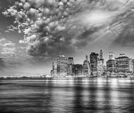 Amazing sunset panoramic skyline of Lower Manhattan as seen from Royalty Free Stock Photography
