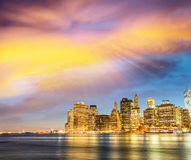 Amazing sunset panoramic skyline of Lower Manhattan as seen from Stock Images