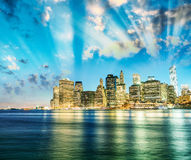 Amazing sunset panoramic skyline of Lower Manhattan as seen from Royalty Free Stock Images