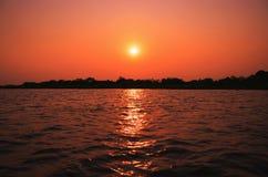 Amazing sunset at Paraguai river in Pantanal, Brazil royalty free stock photo