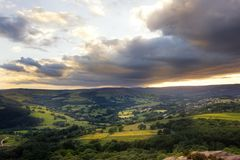 Amazing sunset, Peak District National Park, Derbyshire, England, United Kingdom, Europe. Amazing sunset, sunshine, sun pots after storm. Peak District National royalty free stock images