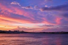 Amazing sunset in the port in Boston, Massachusetts royalty free stock photo