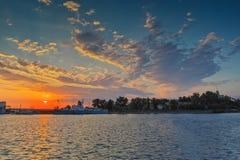 Amazing sunset on port of Sozopol, Bulgaria Stock Photography