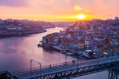 Amazing sunset in Porto Portugal Stock Photo