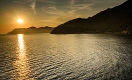 Amazing Sunset. Romantic Sunset at Manarola, Cinque Terre, Italy Stock Photo