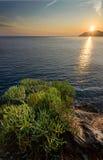 Amazing Sunset. Romantic Sunset at Manarola, Cinque Terre, Italy Royalty Free Stock Photo