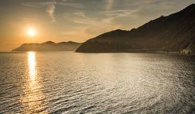 Amazing Sunset. Romantic Sunset at Manarola, Cinque Terre, Italy Stock Photos