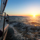 Amazing sunset on a sailing yacht in the Aegean Sea. Travel. Stock Images