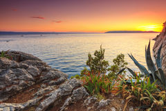Amazing sunset on a sea,Makarska,Dalamatia,Croatia Stock Photos