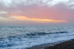 Amazing sunset on the seafront in Brighton beach, Brighton and Hove. Sussex Royalty Free Stock Photos