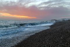 Amazing sunset on the seafront in Brighton beach, Brighton and Hove. Sussex Royalty Free Stock Image