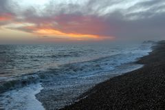Amazing sunset on the seafront in Brighton beach, Brighton and Hove. Sussex Stock Photography