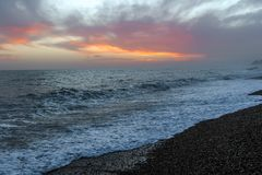 Amazing sunset on the seafront in Brighton beach, Brighton and Hove. Stock Images