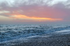 Amazing sunset on the seafront in Brighton beach, Brighton and Hove. Stock Photo