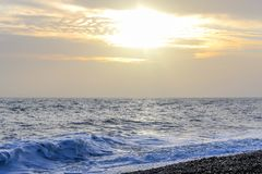 Amazing sunset on the seafront in Brighton beach, Brighton and Hove. Sussex Stock Images