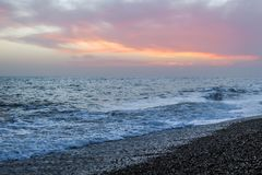Amazing sunset on the seafront in Brighton beach, Brighton and Hove. Sussex Royalty Free Stock Images