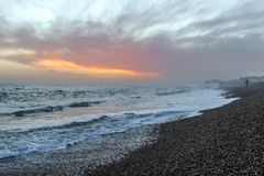 Amazing sunset on the seafront in Brighton beach, Brighton and Hove. Sussex Royalty Free Stock Photography