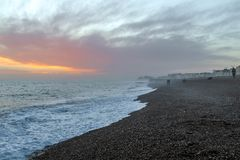 Amazing sunset on the seafront in Brighton beach, Brighton and Hove. Royalty Free Stock Photography