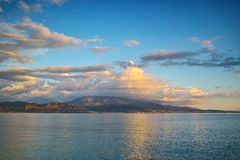 Amazing Sunset seascape from Nafpaktos, Patra, Greece Royalty Free Stock Images