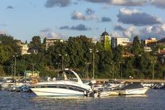 Amazing Sunset Seascape of port of Chernomorets, Burgas region, Bulgaria