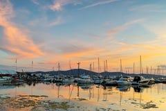 Amazing sunset seascape at the port of Sozopol, Bulgaria Stock Photos