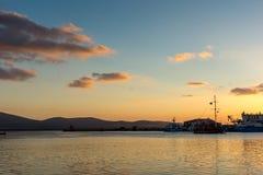 Amazing Sunset seascape on the port of Sozopol, Bulgaria Stock Photography