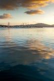 Amazing Sunset seascape on the port of Sozopol, Bulgaria Royalty Free Stock Photos