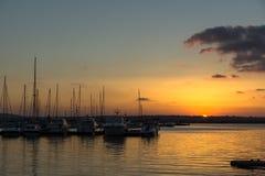 Amazing Sunset seascape on the port of Sozopol, Bulgaria Royalty Free Stock Photo
